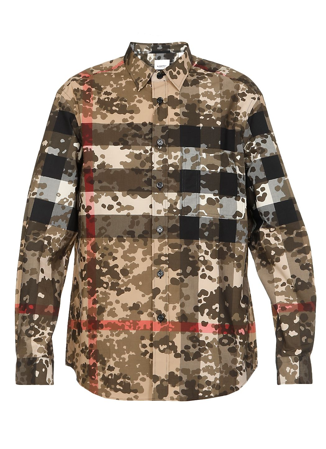 Stretch cotton Camouflage Check poplin shirt