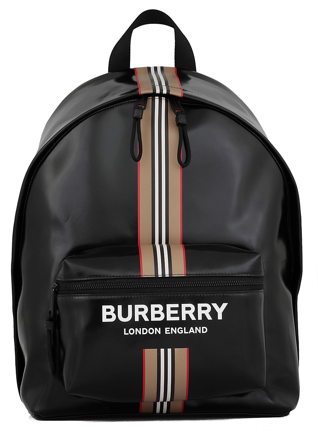 Patent coated canvas backpack