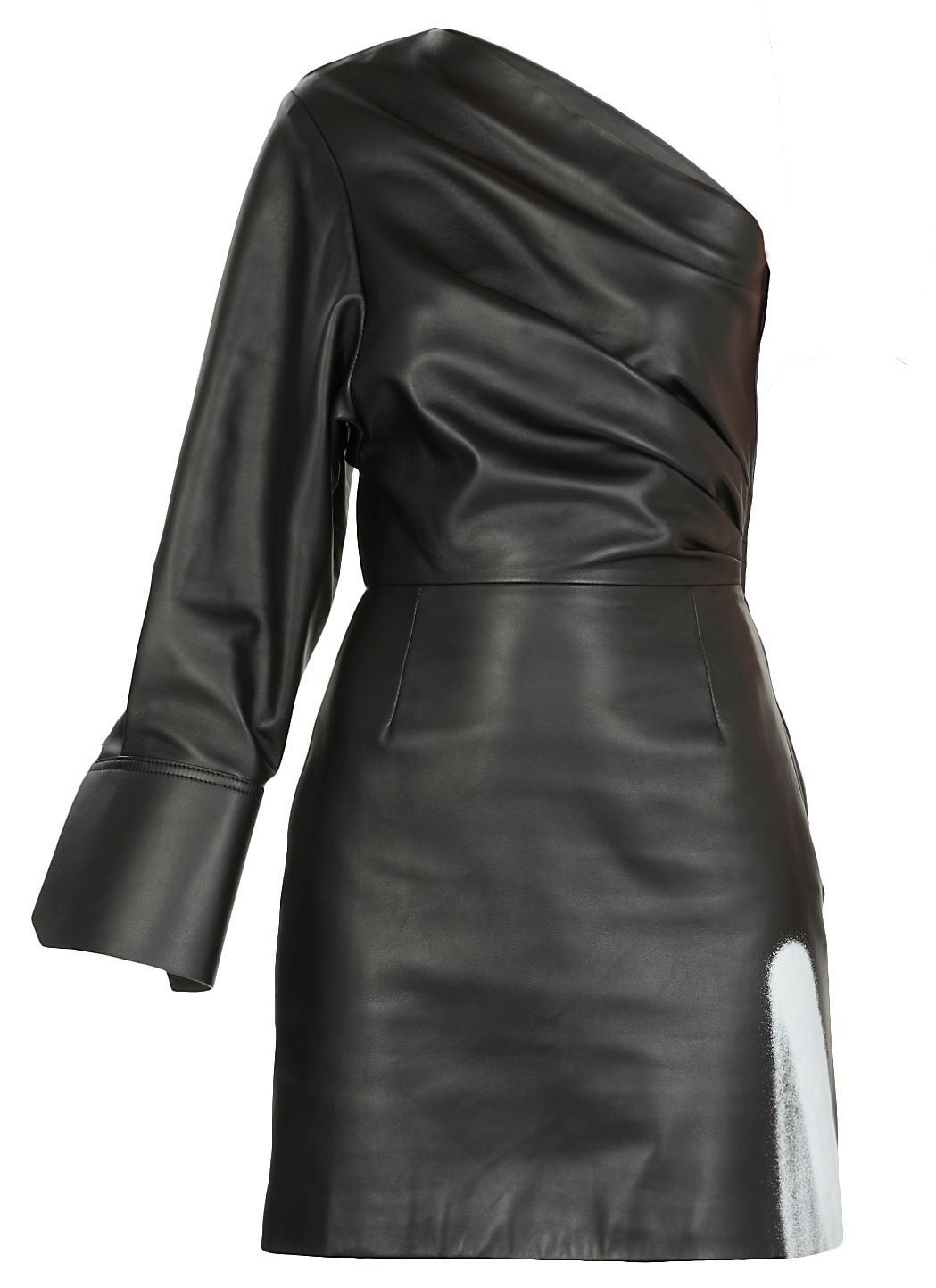 Acid One Shoulder Leather Dress
