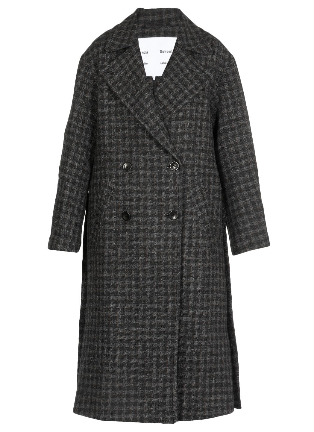 Plaid coating long double breasted coat
