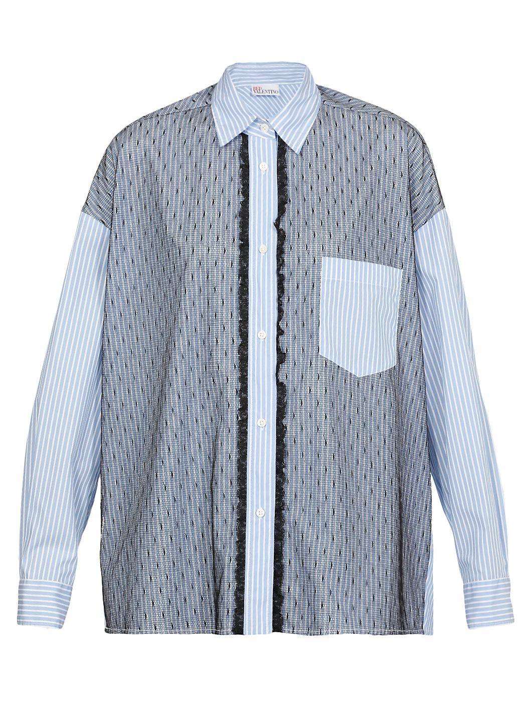 Camicia in cotone rigato e tulle point d'esprit
