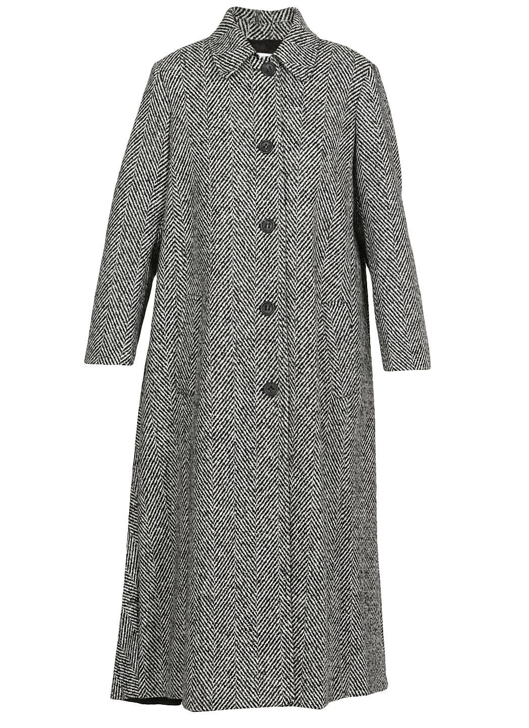 Cappotto in macro chevron di lana