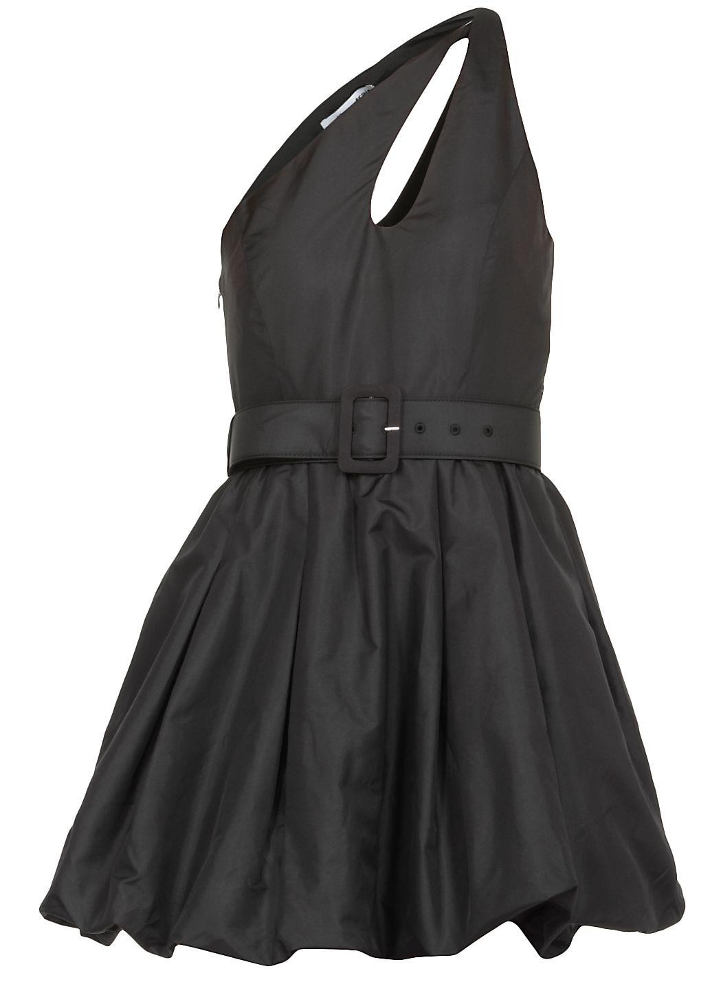 Asymmetric taffeta mini dress
