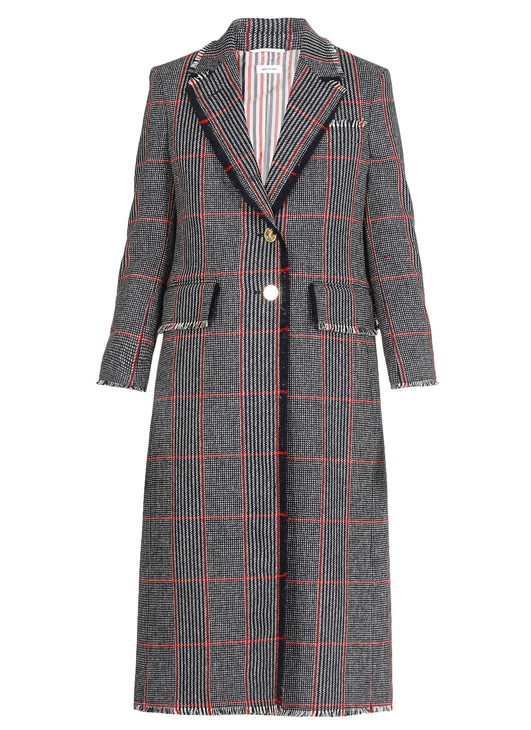 Single-breasted Glen check coat
