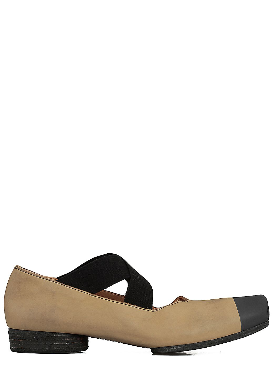 Two-tone square toe ballerinas