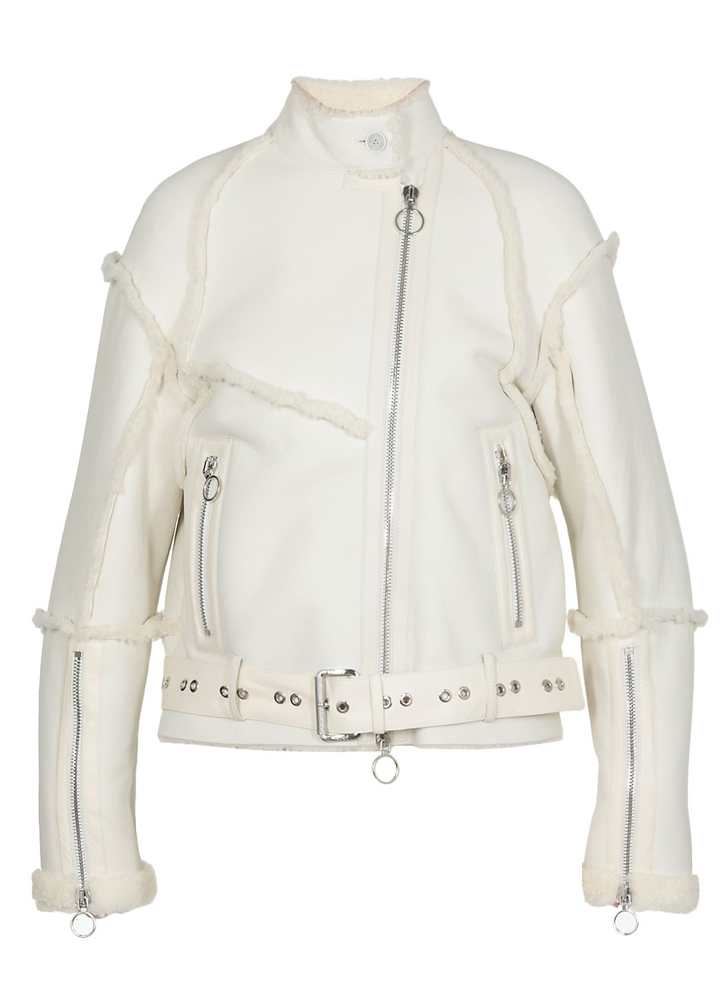 Leather and shearling reversible jacket