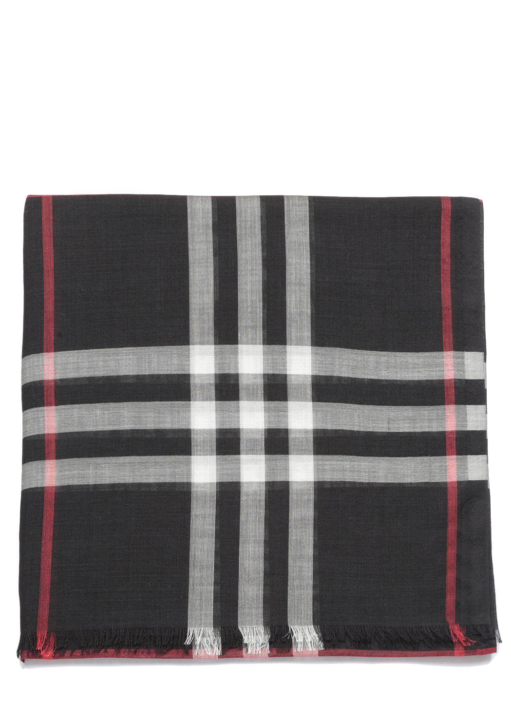 Check wool silk scarf