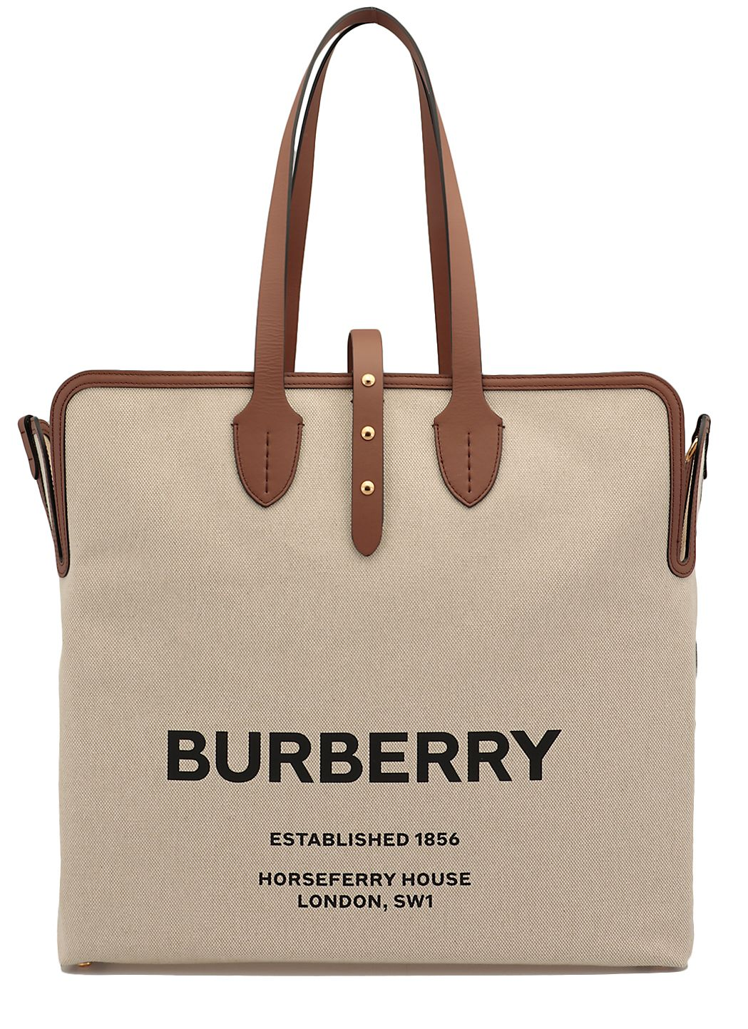 Cotton canvas and leather tote bag