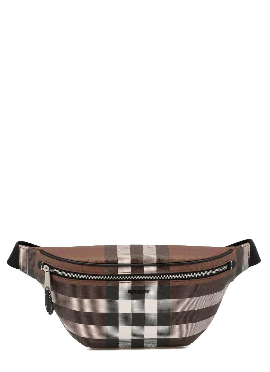 Cotton blend belt bag with tartan pattern