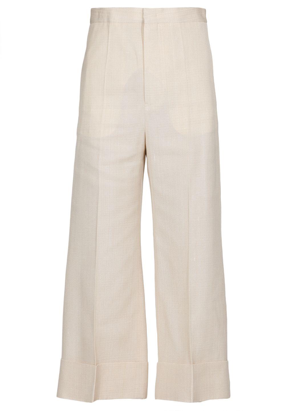 Pantalone in misto seta con risvolto