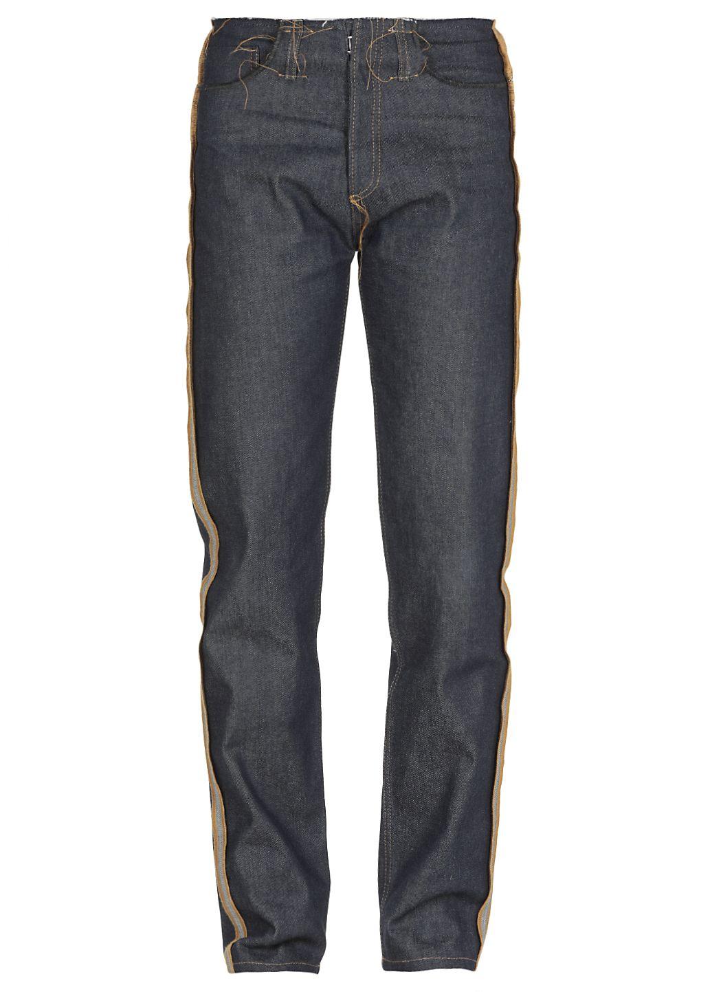 Jeans in cotone con cuciture a taglio vivo