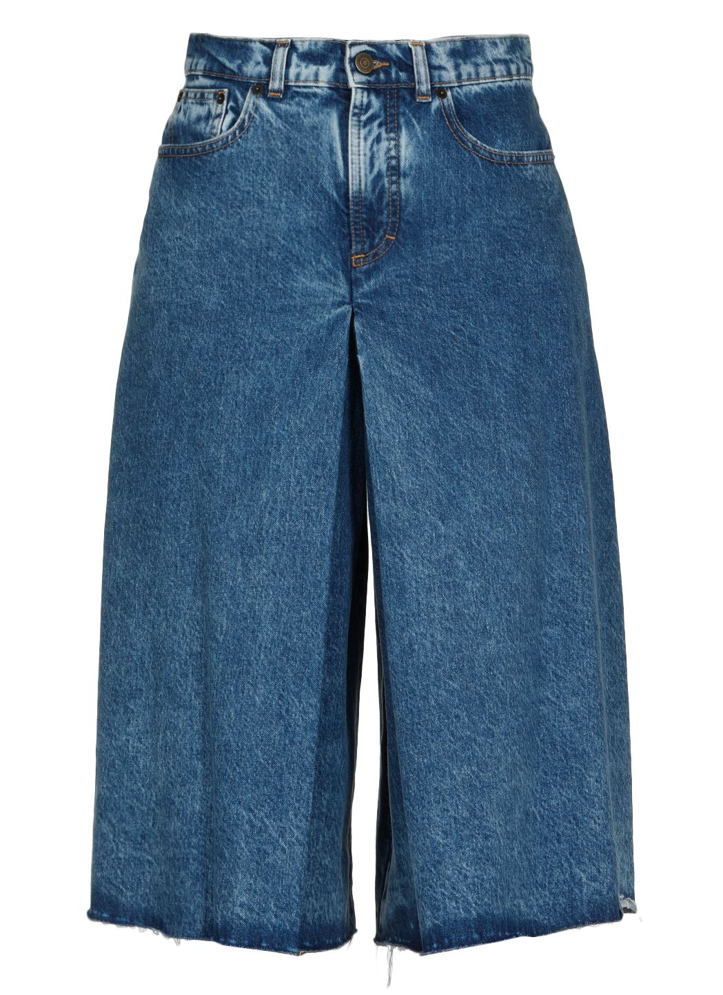 Recycled denim Spliced culottes pants