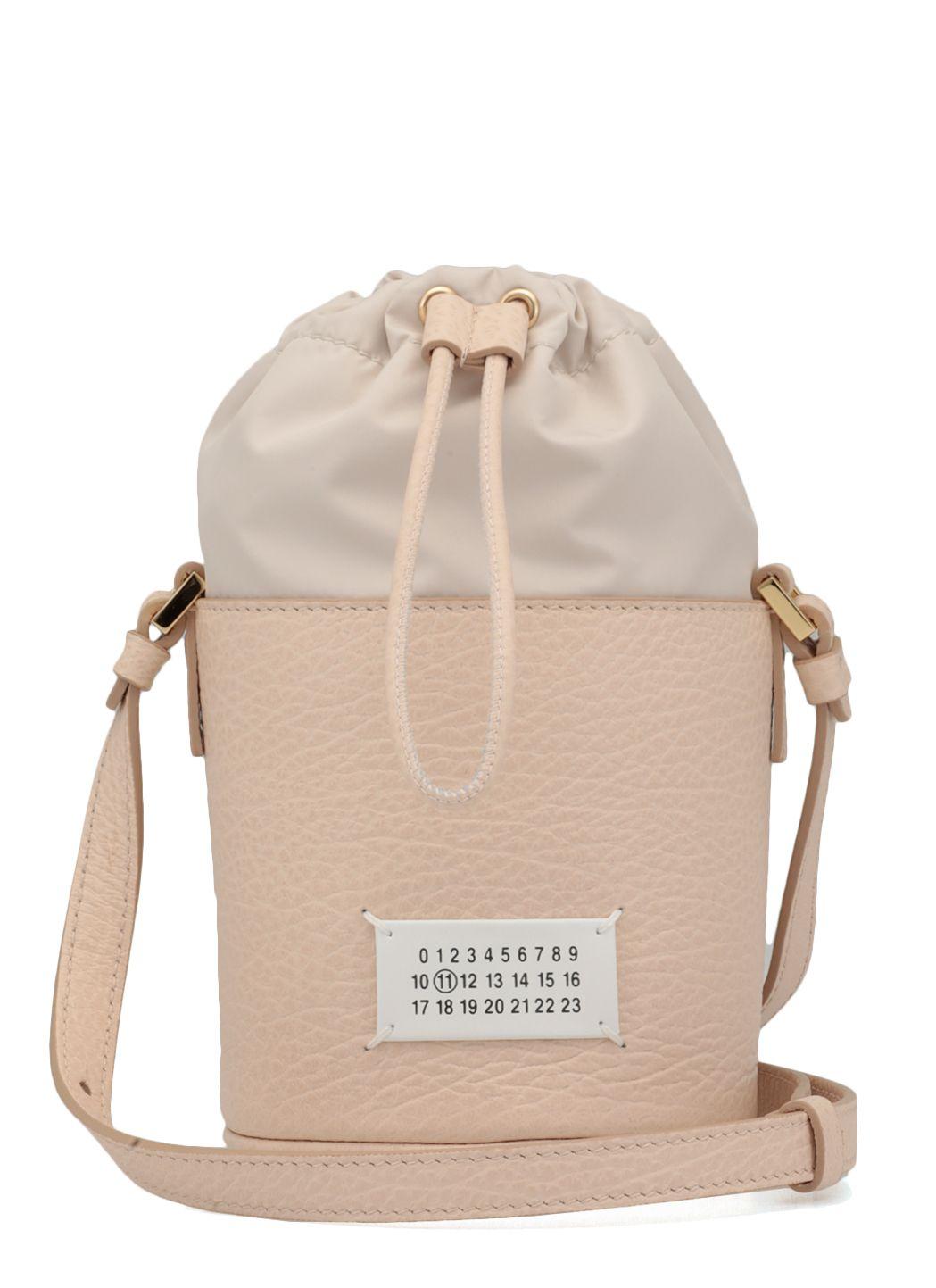 Pebbled leather mini bucket bag