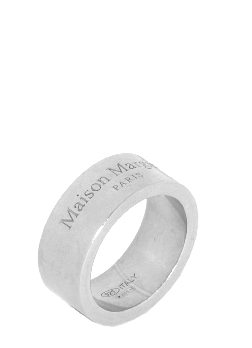 Silver ring with logo