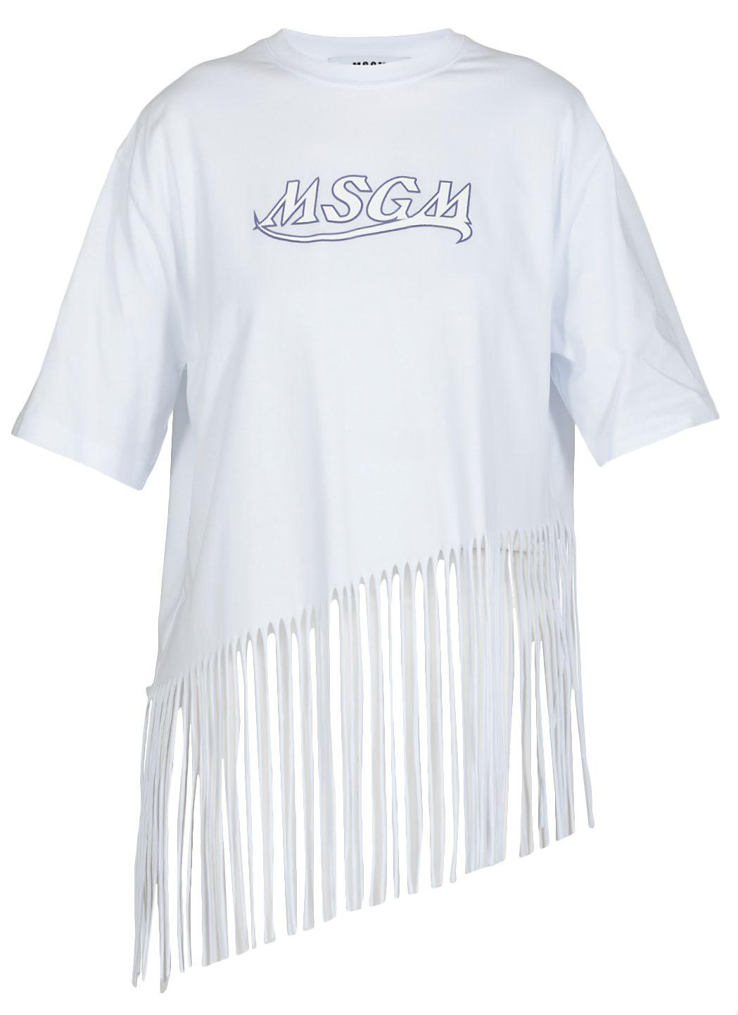 T-shirt in cotone con frange