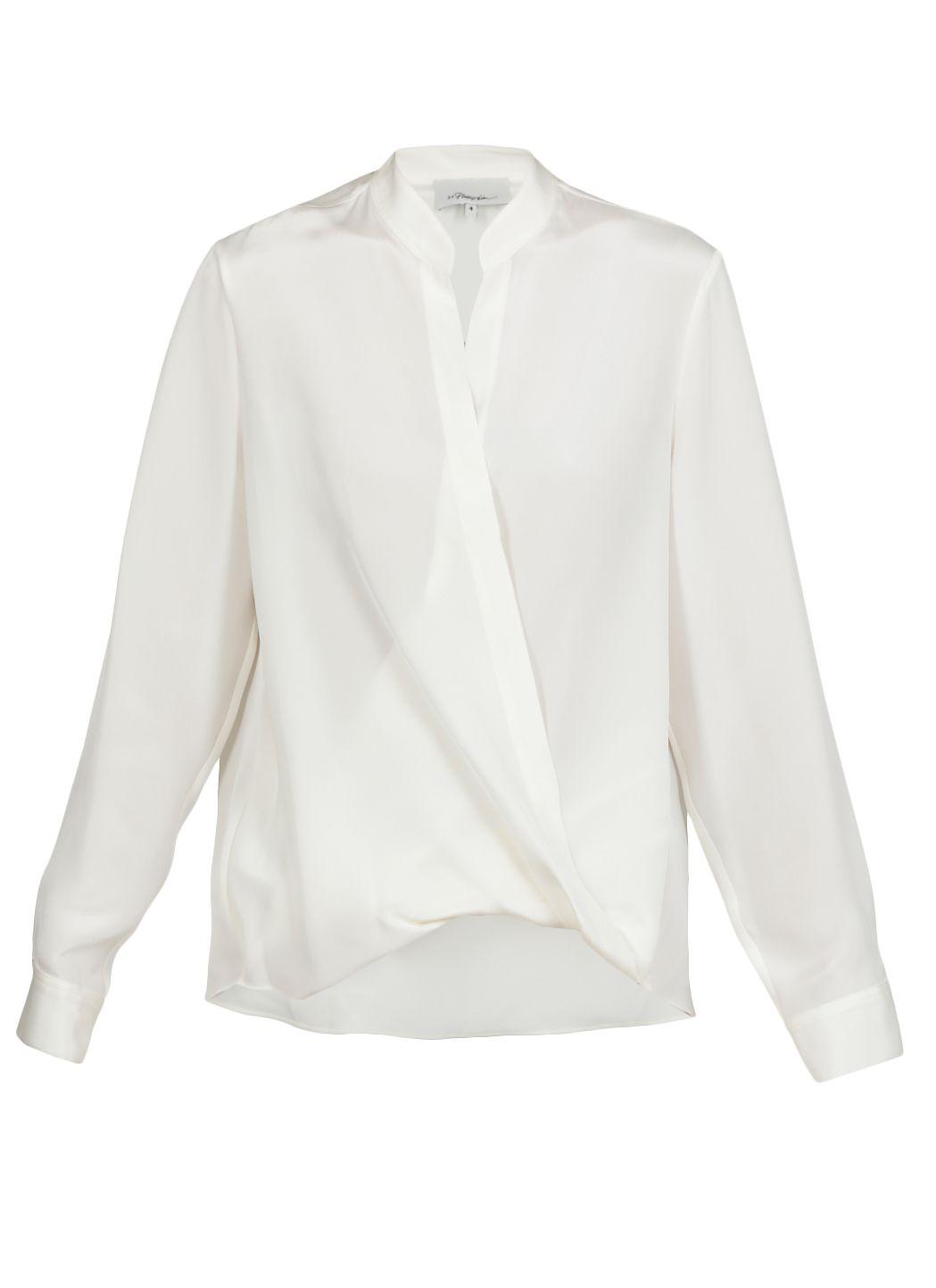 Blusa drappeggiata in seta