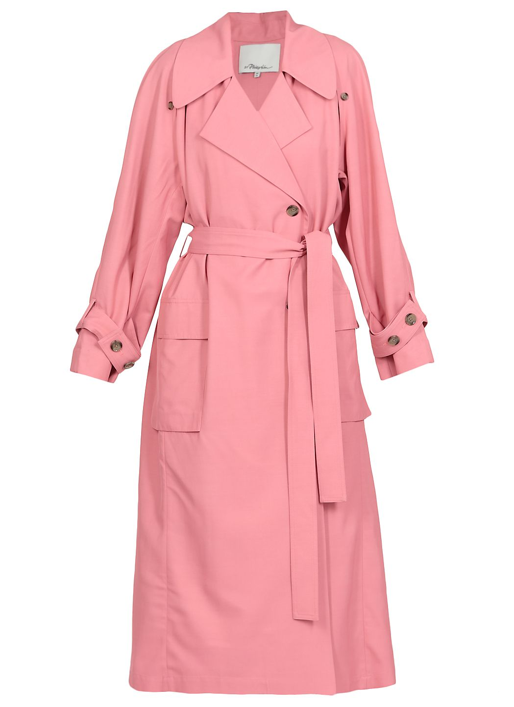 Wool and viscose blend long raincoat