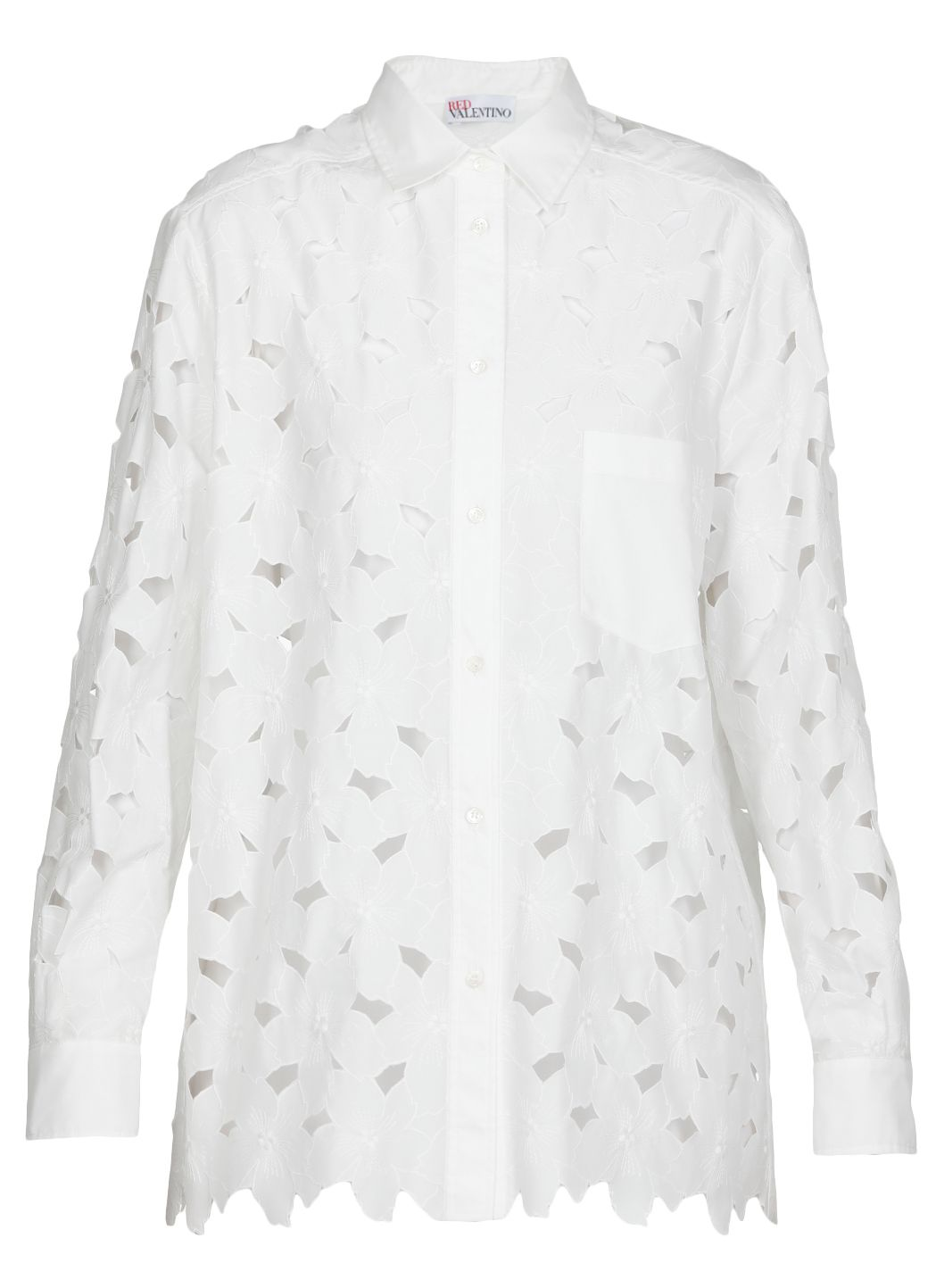 Camicia ad intaglio in misto cotone