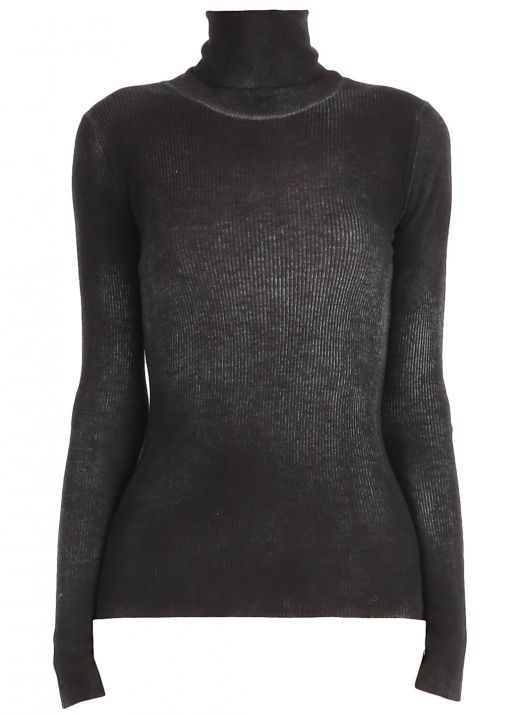 Cashmere and silk ribbed sweater