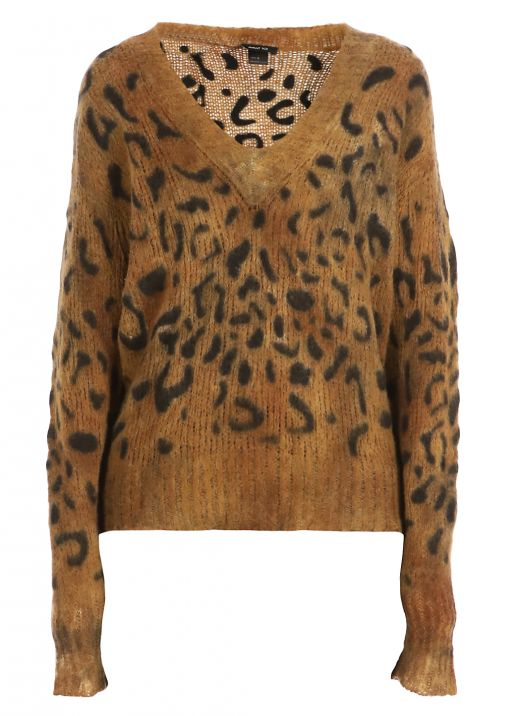 Cashmere wool and silk leopard sweater
