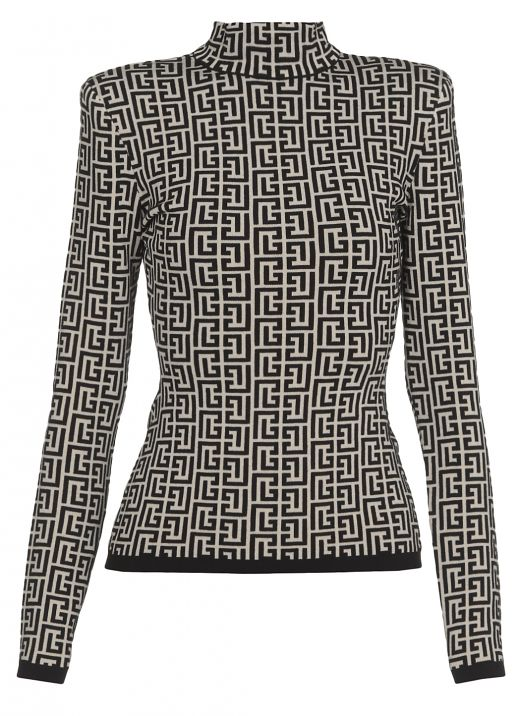 Jacquard sweater with monogram