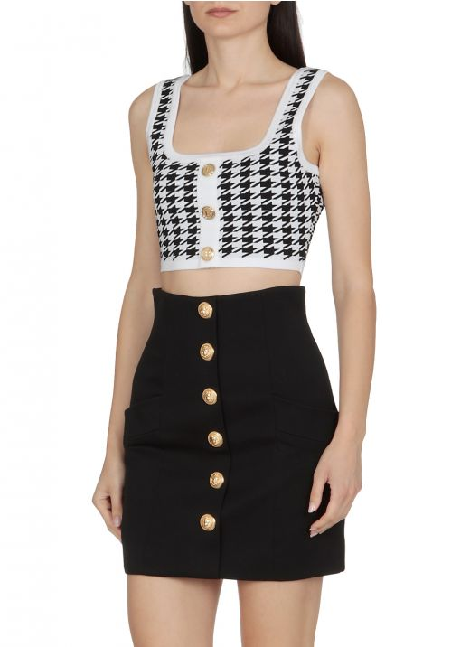 Cropped top with pied de poule pattern