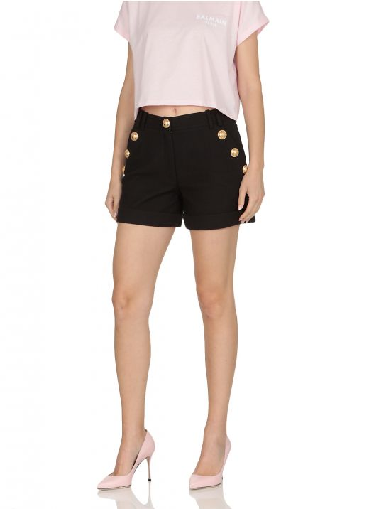 Low-waisted cotton shorts