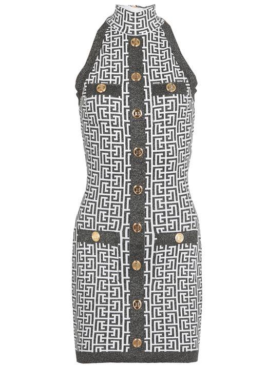 Monogram knitted dress