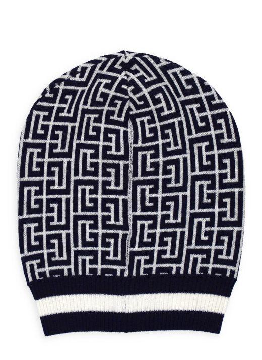 Wool beanie with Balmain monogram