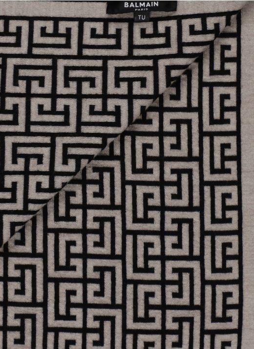 Wool scarf with Balmain monogram