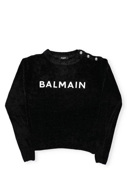Logo velvet sweater