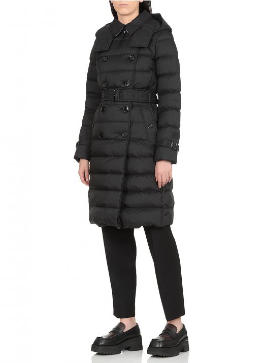Down jacket with belt and removable hood