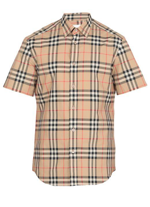 Short-sleeve Check Cotton Poplin Shirt