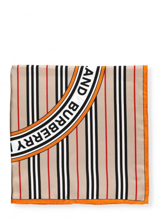 Silk scarf with logo and stripe pattern