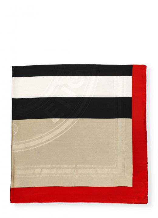 Silk scarf with iconic striped pattern