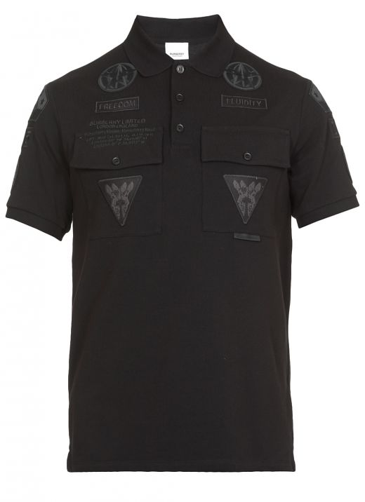Piqué cotton oversize polo shirt with applications