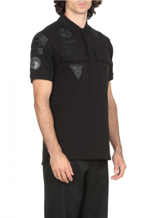 Piqu&#233 cotton oversize polo shirt with applications