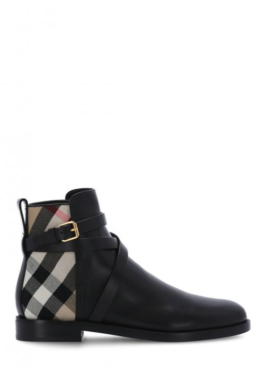 Vintage check leather boot