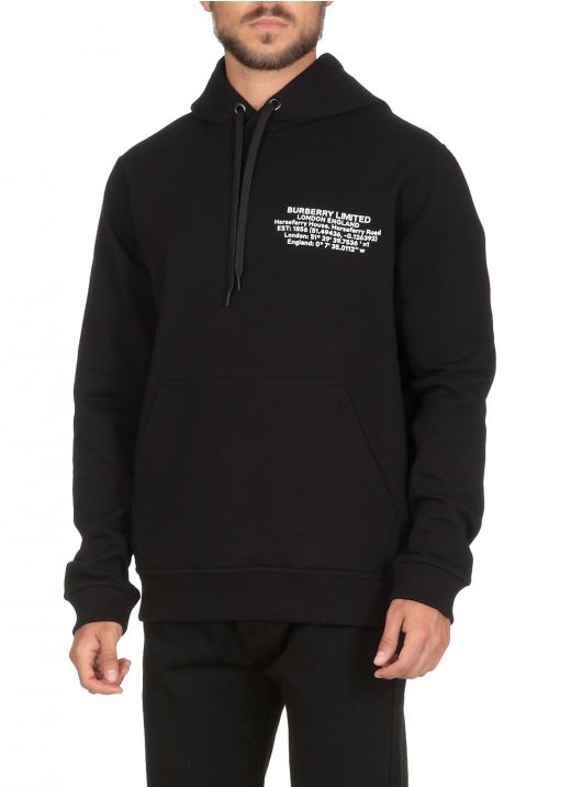 Hoodie with printed geographical coordinates