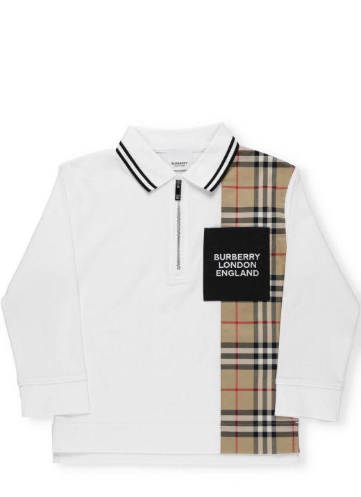 Long-sleeved cotton polo shirt