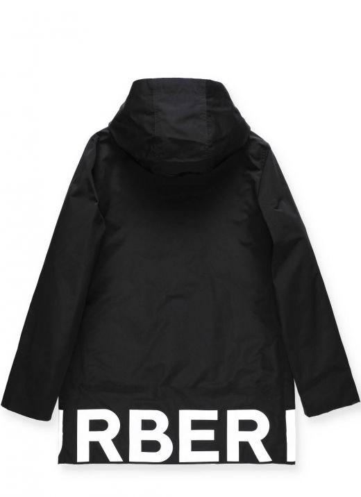 Coat with logo and removable padding