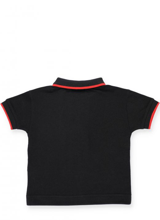 Cotton polo shirt with striped pattern