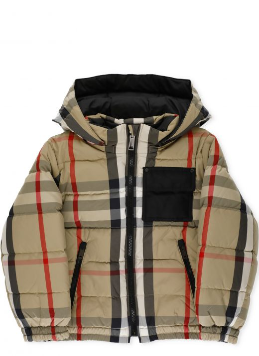Padded jacket with checked pattern