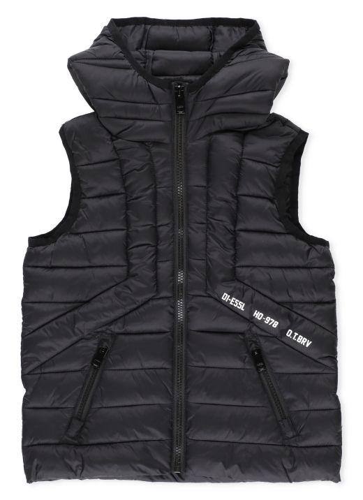 Padded sleeveless hooded jacket