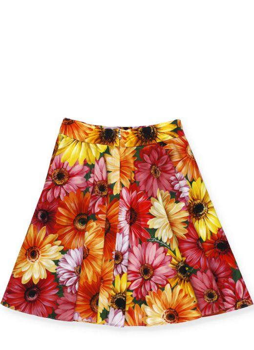 Midi skirt with gerbere print