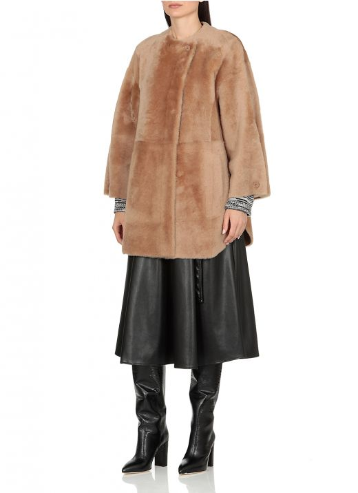 Reversible double breasted shearling jacket