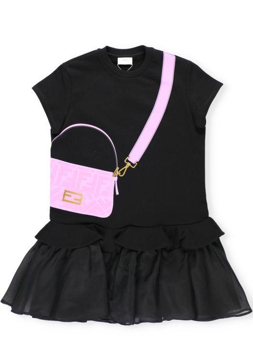 Plush cotton and organza Junior dress