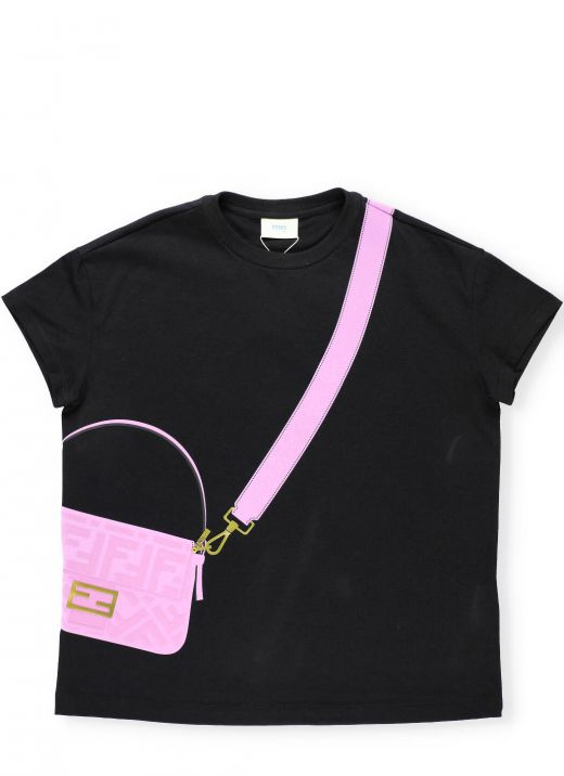 T-shirt with embossed loged print