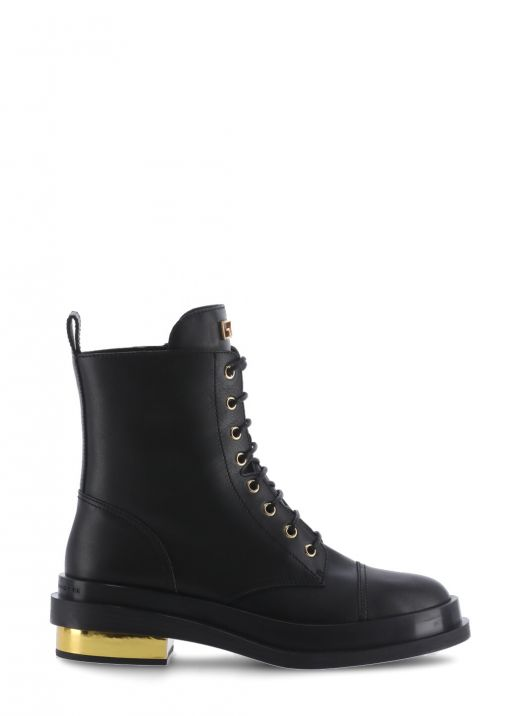 Leather lace-up army boot