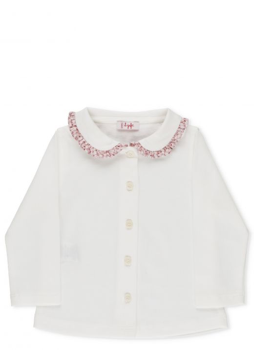 Shirt with floral rouches